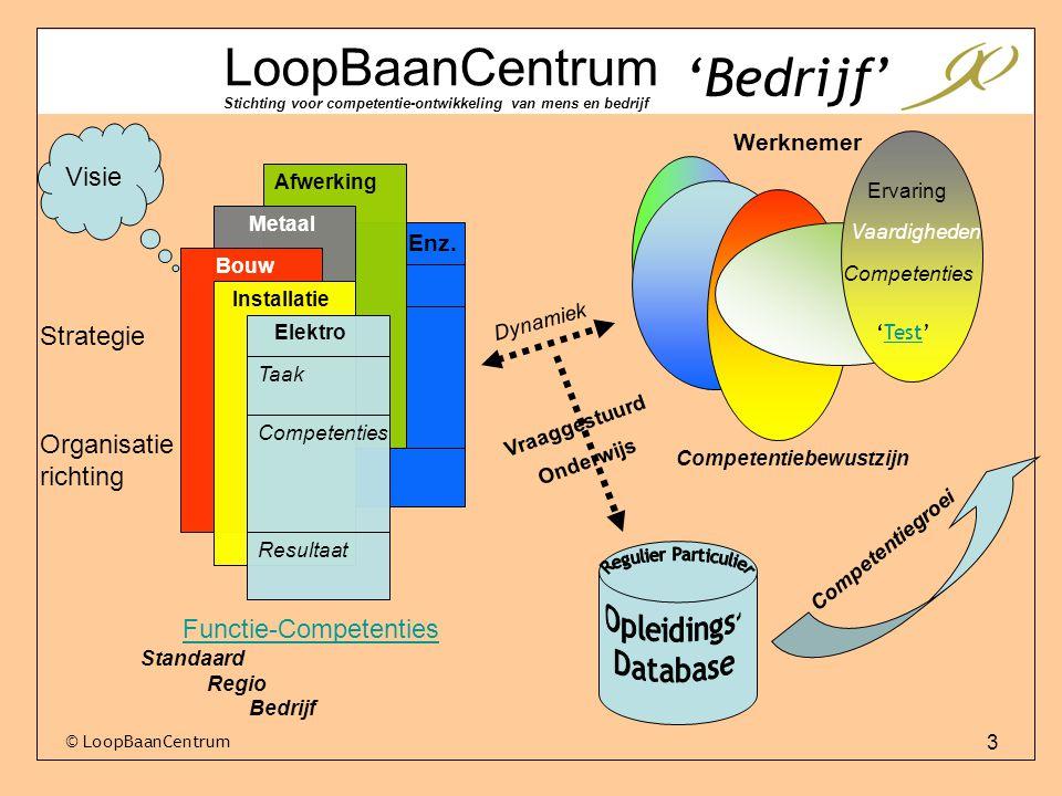 3 LoopBaanCentrum Stichting voor competentie-ontwikkeling van mens en bedrijf Visie Strategie Organisatie richting Afwerking Elektro Installatie Bouw Taak Competenties Resultaat Metaal Enz.