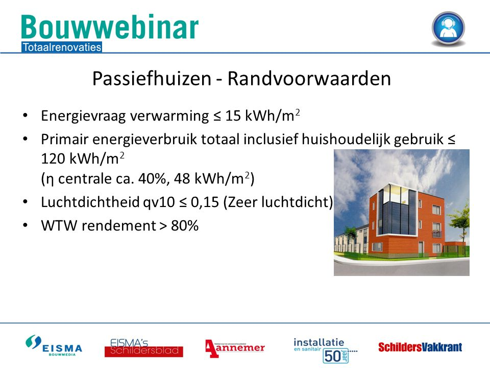 • Energievraag verwarming ≤ 15 kWh/m 2 • Primair energieverbruik totaal inclusief huishoudelijk gebruik ≤ 120 kWh/m 2 (ƞ centrale ca.