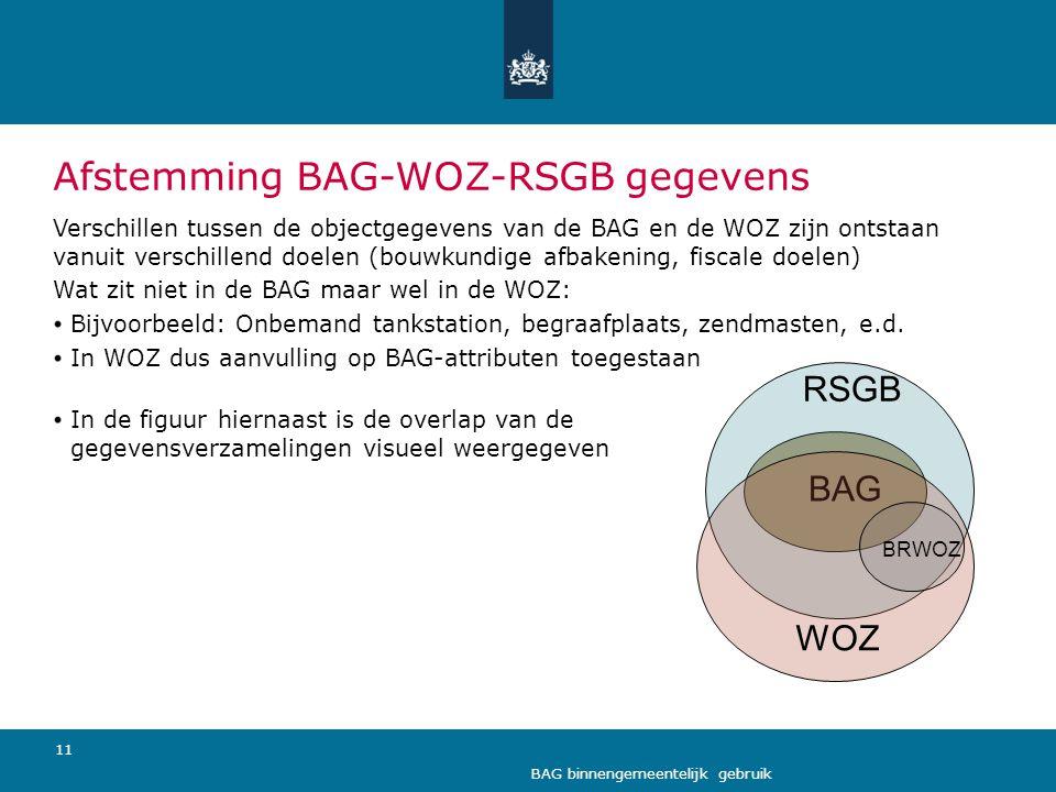 11 BAG binnengemeentelijk gebruik Afstemming BAG-WOZ-RSGB gegevens Verschillen tussen de objectgegevens van de BAG en de WOZ zijn ontstaan vanuit vers