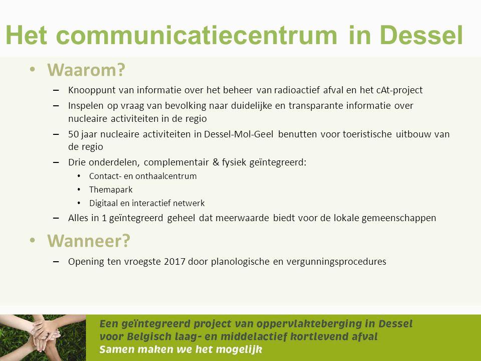 Het communicatiecentrum in Dessel • Waarom? – Knooppunt van informatie over het beheer van radioactief afval en het cAt-project – Inspelen op vraag va