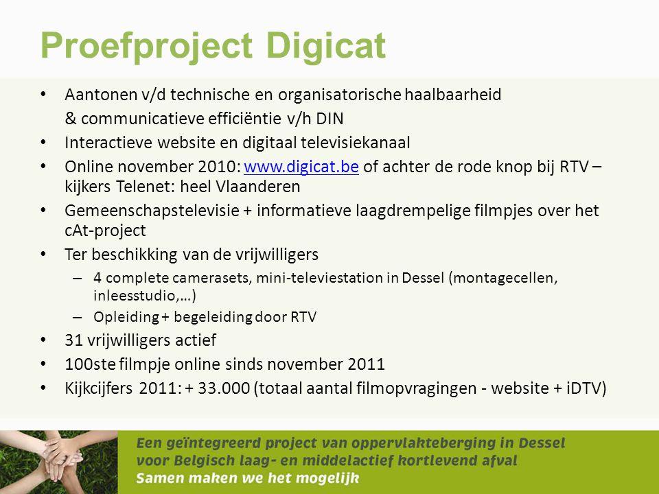 Proefproject Digicat • Aantonen v/d technische en organisatorische haalbaarheid & communicatieve efficiëntie v/h DIN • Interactieve website en digitaa