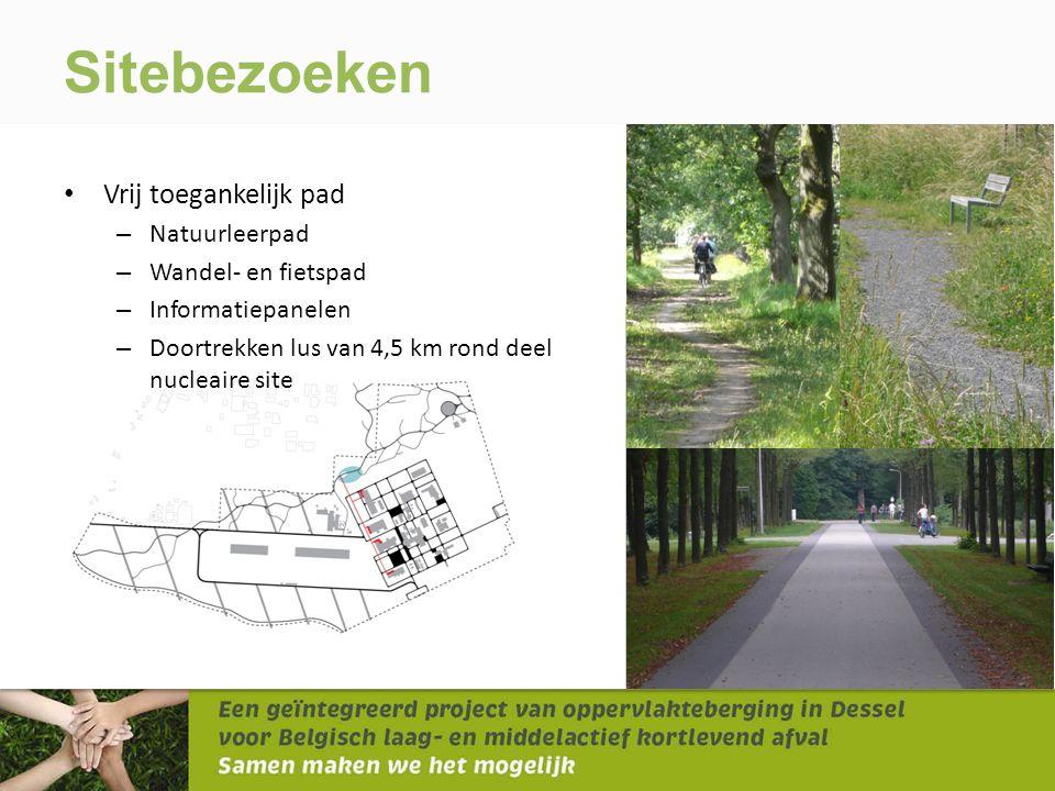 • Vrij toegankelijk pad – Natuurleerpad – Wandel- en fietspad – Informatiepanelen – Doortrekken lus van 4,5 km rond deel nucleaire site Sitebezoeken