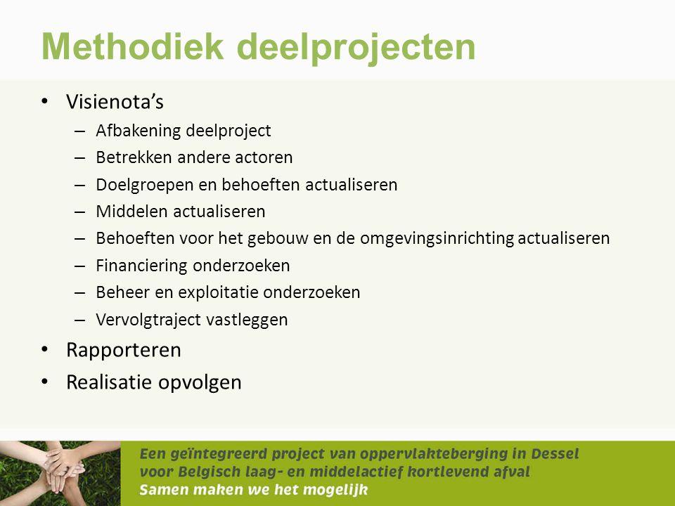 Methodiek deelprojecten • Visienota's – Afbakening deelproject – Betrekken andere actoren – Doelgroepen en behoeften actualiseren – Middelen actualise