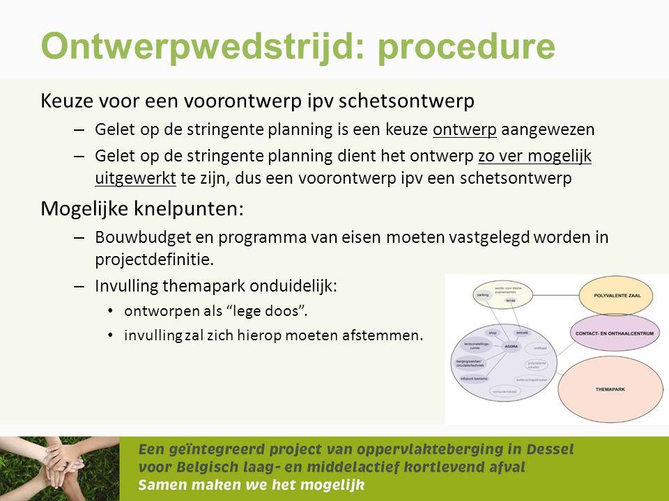 Ontwerpwedstrijd: procedure Keuze voor een voorontwerp ipv schetsontwerp – Gelet op de stringente planning is een keuze ontwerp aangewezen – Gelet op