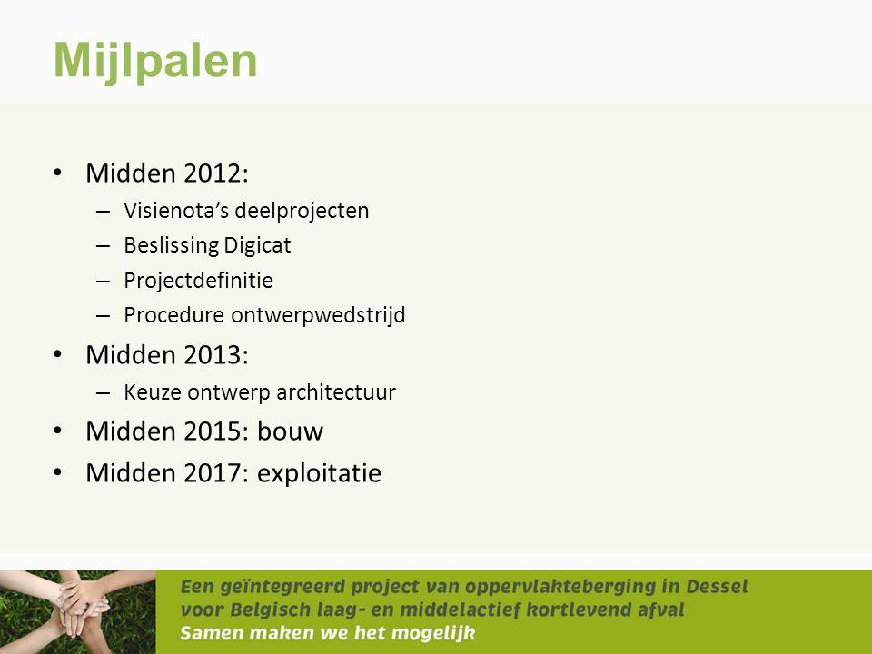 Mijlpalen • Midden 2012: – Visienota's deelprojecten – Beslissing Digicat – Projectdefinitie – Procedure ontwerpwedstrijd • Midden 2013: – Keuze ontwe
