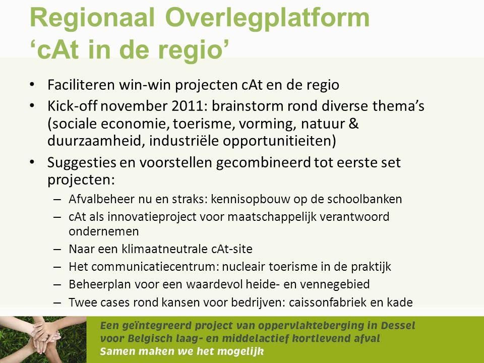 Regionaal Overlegplatform 'cAt in de regio' • Faciliteren win-win projecten cAt en de regio • Kick-off november 2011: brainstorm rond diverse thema's