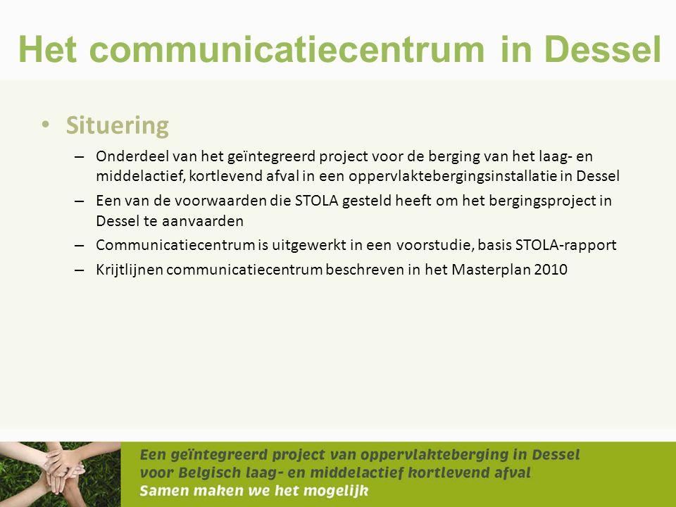 Het communicatiecentrum in Dessel • Situering – Onderdeel van het geïntegreerd project voor de berging van het laag- en middelactief, kortlevend afval