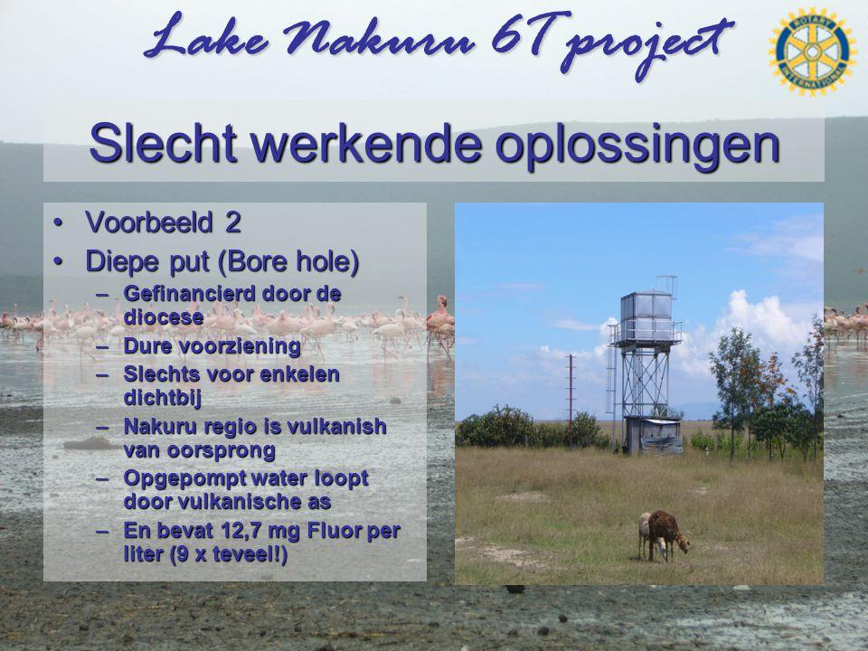 Lake Nakuru 6T project Slecht werkende oplossingen •Voorbeeld 2 •Diepe put (Bore hole) –Gefinancierd door de diocese –Dure voorziening –Slechts voor enkelen dichtbij –Nakuru regio is vulkanish van oorsprong –Opgepompt water loopt door vulkanische as –En bevat 12,7 mg Fluor per liter (9 x teveel!)