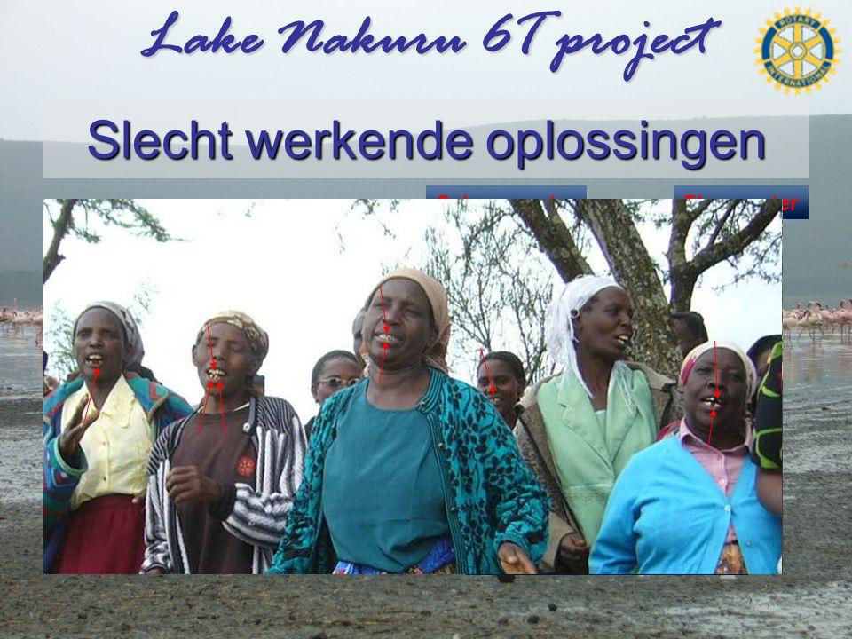 Lake Nakuru 6T project Slecht werkende oplossingen •Voorbeeld 2 •Diepe put (Bore hole) –Het lijkt schoon water –Maar hoge concentratie fluor leidt tot: –Tandbederf –Skelet vergroeiingen en breuken –Toch zijn er na de eerste put nog drie gebouwd.