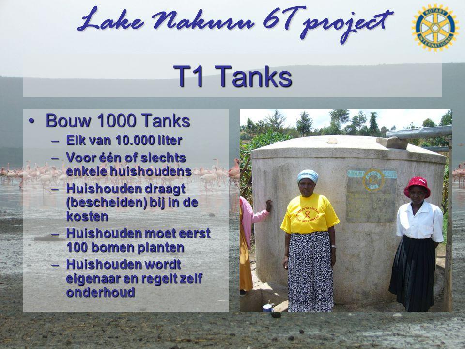 Lake Nakuru 6T project T1 Tanks •Bouw 1000 Tanks –Elk van 10.000 liter –Voor één of slechts enkele huishoudens –Huishouden draagt (bescheiden) bij in de kosten –Huishouden moet eerst 100 bomen planten –Huishouden wordt eigenaar en regelt zelf onderhoud