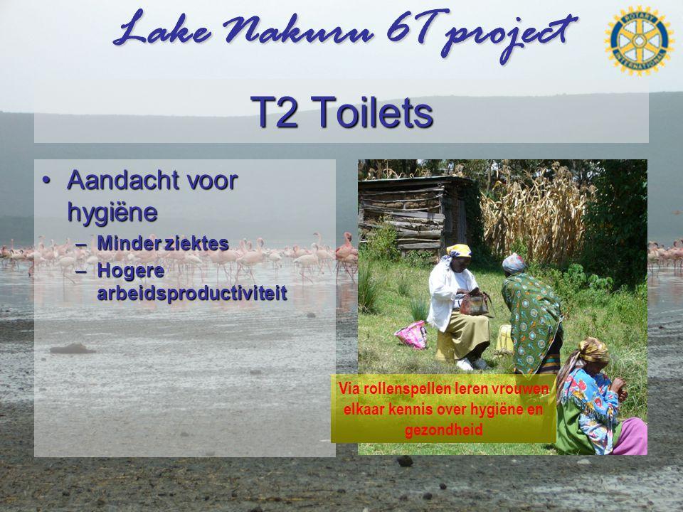 Lake Nakuru 6T project T2 Toilets •Aandacht voor hygiëne –Minder ziektes –Hogere arbeidsproductiviteit Via rollenspellen leren vrouwen elkaar kennis over hygiëne en gezondheid