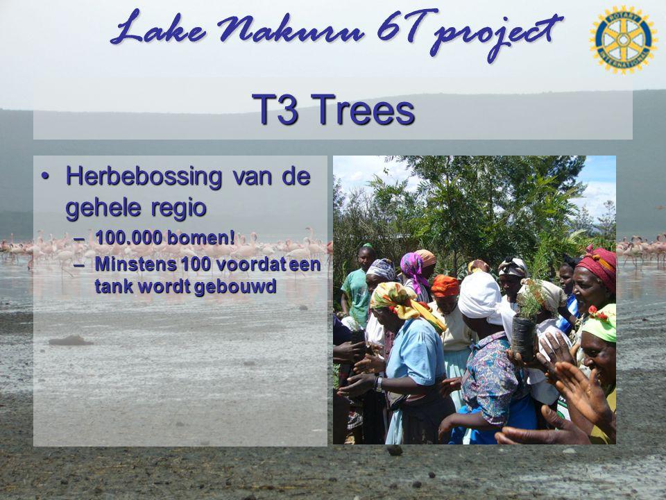 Lake Nakuru 6T project T3 Trees •Herbebossing van de gehele regio –100.000 bomen.