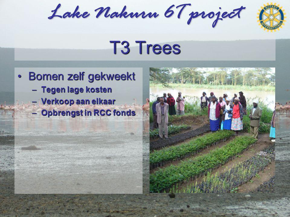 Lake Nakuru 6T project T3 Trees •Bomen zelf gekweekt –Tegen lage kosten –Verkoop aan elkaar –Opbrengst in RCC fonds