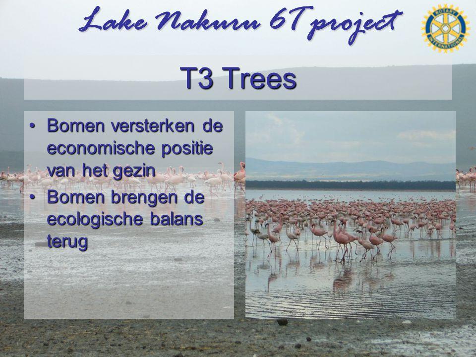 Lake Nakuru 6T project T3 Trees •Bomen versterken de economische positie van het gezin •Bomen brengen de ecologische balans terug
