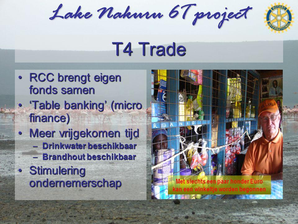 Lake Nakuru 6T project T4 Trade •RCC brengt eigen fonds samen •'Table banking' (micro finance) •Meer vrijgekomen tijd –Drinkwater beschikbaar –Brandhout beschikbaar •Stimulering ondernemerschap Met slechts een paar honder Euro kan een winkeltje worden begonnen