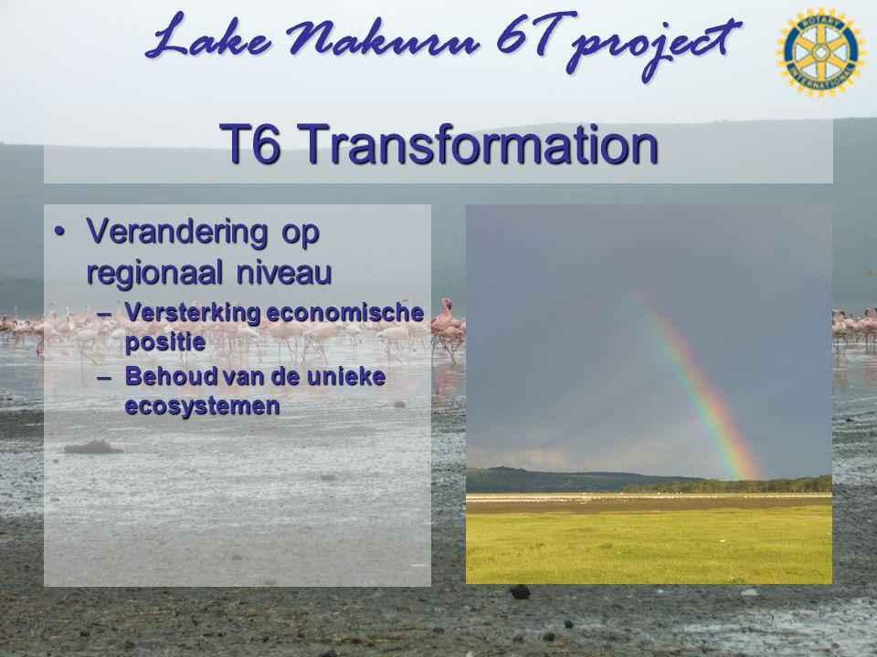 Lake Nakuru 6T project T6 Transformation •Verandering op regionaal niveau –Versterking economische positie –Behoud van de unieke ecosystemen