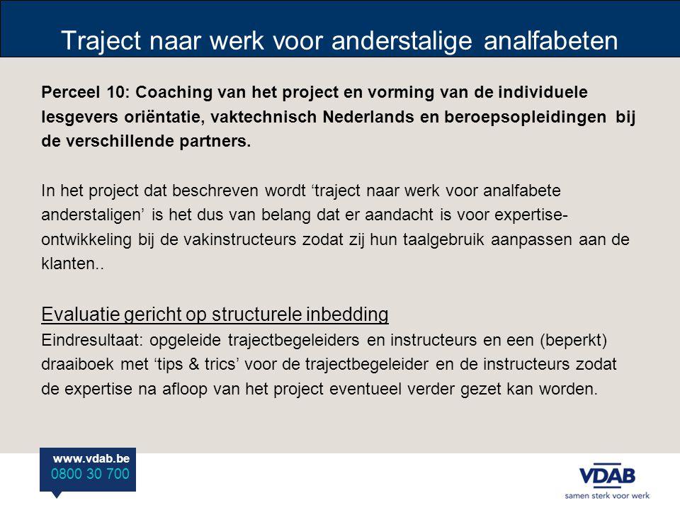 www.vdab.be 0800 30 700 Traject naar werk voor anderstalige analfabeten Perceel 10: Coaching van het project en vorming van de individuele lesgevers o