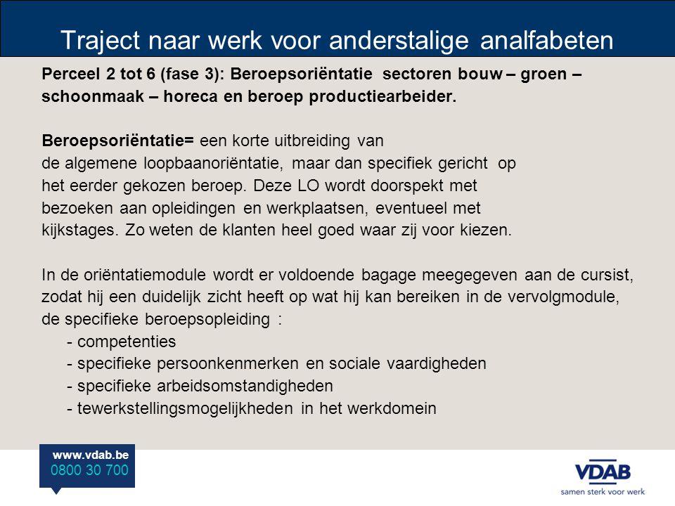 www.vdab.be 0800 30 700 Traject naar werk voor anderstalige analfabeten Perceel 7: Beroepsopleiding met vaktechnisch Nederlands sector bouw (fase 4) Vaktechnische opleiding op maat van doelgroep (ondersteunende taken binnen het gekozen beroep).