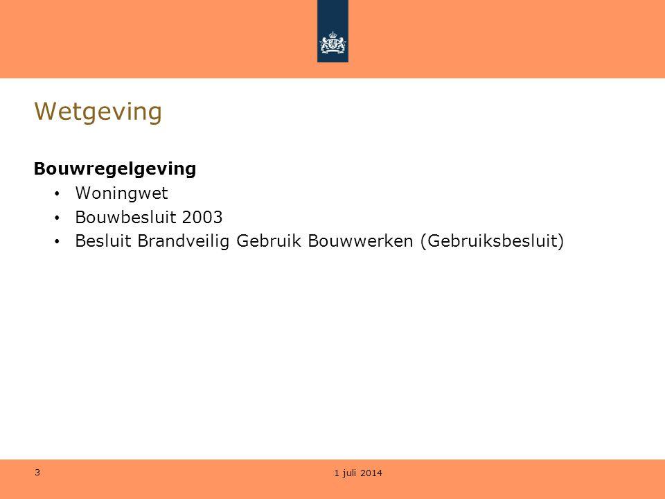 3 Wetgeving Bouwregelgeving • Woningwet • Bouwbesluit 2003 • Besluit Brandveilig Gebruik Bouwwerken (Gebruiksbesluit) 1 juli 2014
