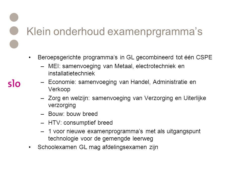 Examenprogramma's vmbo 1/3 Centraal examen •Exameneenheden 2/3 Schoolexamen