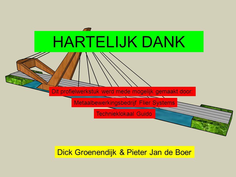 Dit profielwerkstuk werd mede mogelijk gemaakt door: Metaalbewerkingsbedrijf Flier Systems Technieklokaal Guido HARTELIJK DANK Dick Groenendijk & Pieter Jan de Boer