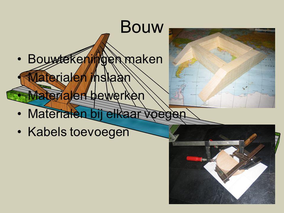 Bouw •Bouwtekeningen maken •Materialen inslaan •Materialen bewerken •Materialen bij elkaar voegen •Kabels toevoegen