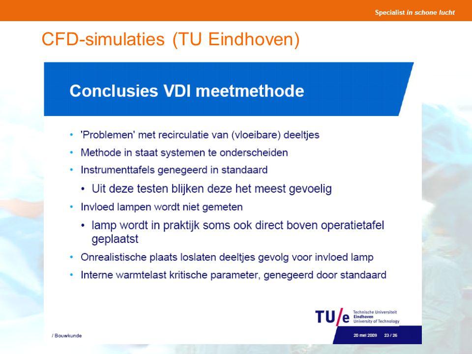 Specialist in schone lucht Presentatie OK s Seminar Lighthouse 25 en 27 november 2008 33 CFD-simulaties (TU Eindhoven)