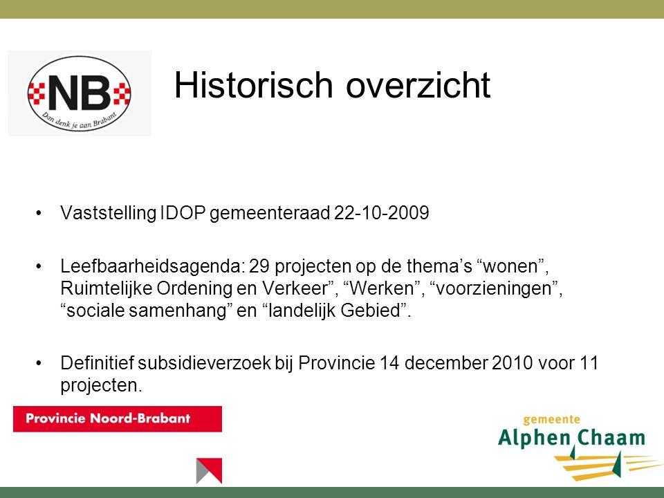 Historisch overzicht •Vaststelling IDOP gemeenteraad 22-10-2009 •Leefbaarheidsagenda: 29 projecten op de thema's wonen , Ruimtelijke Ordening en Verkeer , Werken , voorzieningen , sociale samenhang en landelijk Gebied .