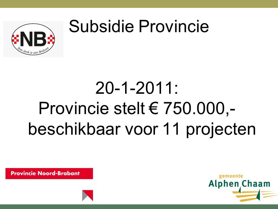 Subsidie Provincie 20-1-2011: Provincie stelt € 750.000,- beschikbaar voor 11 projecten