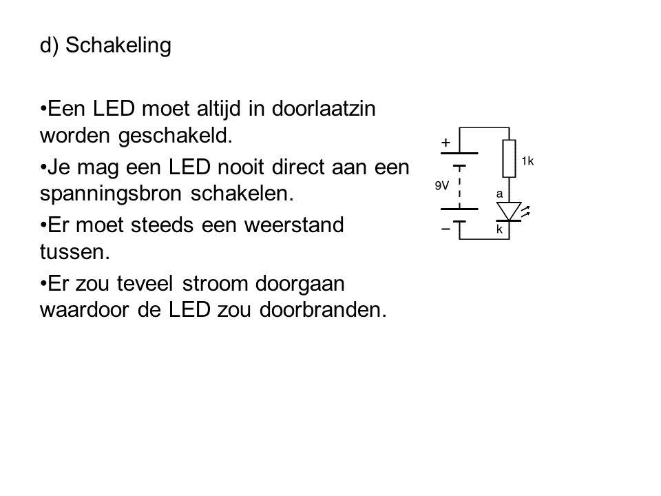 c) Werking (deel 3) •Energieverschil tussen gat en e - is materiaalafhankelijk. •Hoe groter dit energieverschil, hoe groter de frequentie van het uitg