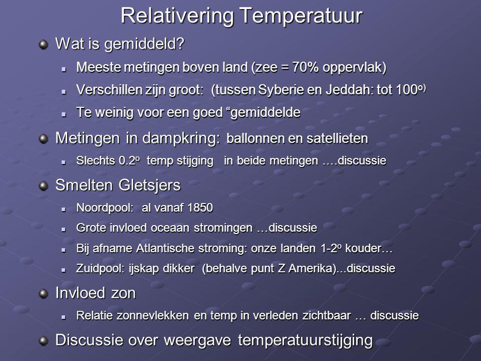 Relativering Temperatuur Wat is gemiddeld?  Meeste metingen boven land (zee = 70% oppervlak)  Verschillen zijn groot: (tussen Syberie en Jeddah: tot
