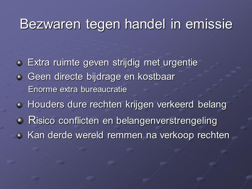 Bezwaren tegen handel in emissie Extra ruimte geven strijdig met urgentie Extra ruimte geven strijdig met urgentie Geen directe bijdrage en kostbaar G