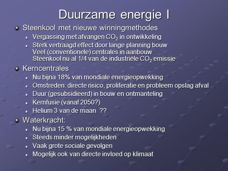 Duurzame energie I Steenkool met nieuwe winningmethodes  Vergassing met afvangen CO 2 in ontwikkeling  Sterk vertraagd effect door lange planning bo