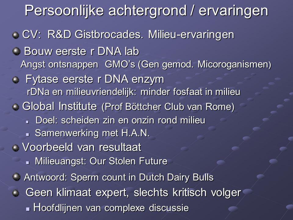 Persoonlijke achtergrond / ervaringen CV: R&D Gistbrocades. Milieu-ervaringen CV: R&D Gistbrocades. Milieu-ervaringen Bouw eerste r DNA lab Angst onts