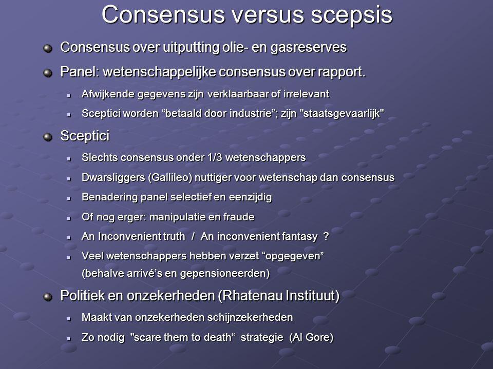 Consensus over uitputting olie- en gasreserves Panel: wetenschappelijke consensus over rapport.  Afwijkende gegevens zijn verklaarbaar of irrelevant
