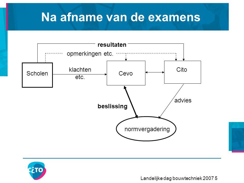 Landelijke dag bouwtechniek 2007 5 Na afname van de examens ScholenCevo Cito normvergadering resultaten klachten etc.