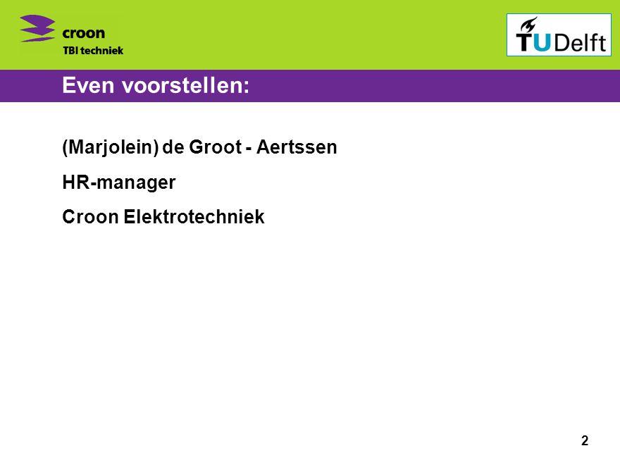 Bedrijvenbijeenkomst ontspits 1 november 2010 Even voorstellen: (Marjolein) de Groot - Aertssen HR-manager Croon Elektrotechniek 2