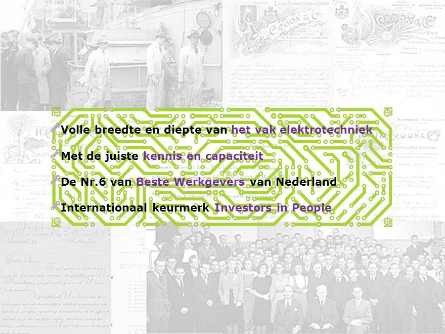 Bedrijvenbijeenkomst ontspits 1 november 2010 Koptekst 21 september 2010 Volle breedte en diepte van het vak elektrotechniek Met de juiste kennis en capaciteit De Nr.6 van Beste Werkgevers van Nederland Internationaal keurmerk Investors in People