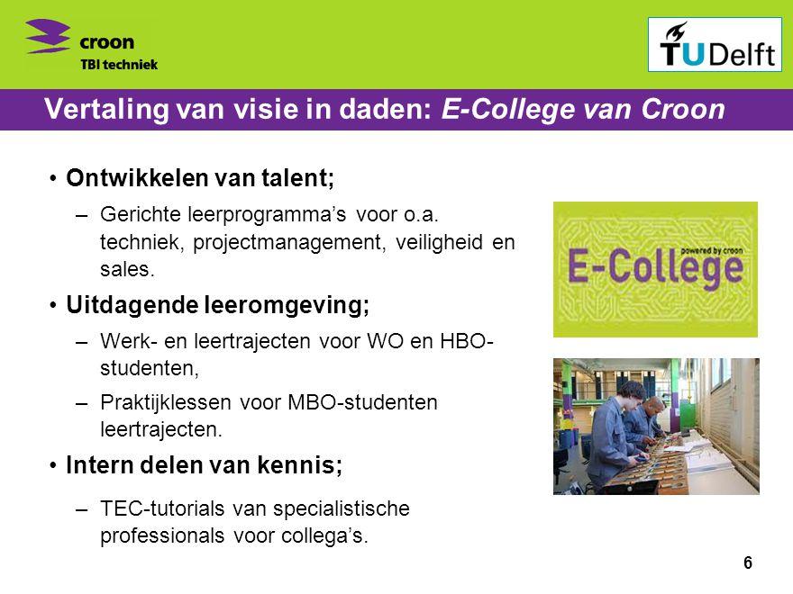 Bedrijvenbijeenkomst ontspits 1 november 2010 Vertaling van visie in daden: E-College van Croon •Ontwikkelen van talent; –Gerichte leerprogramma's voor o.a.