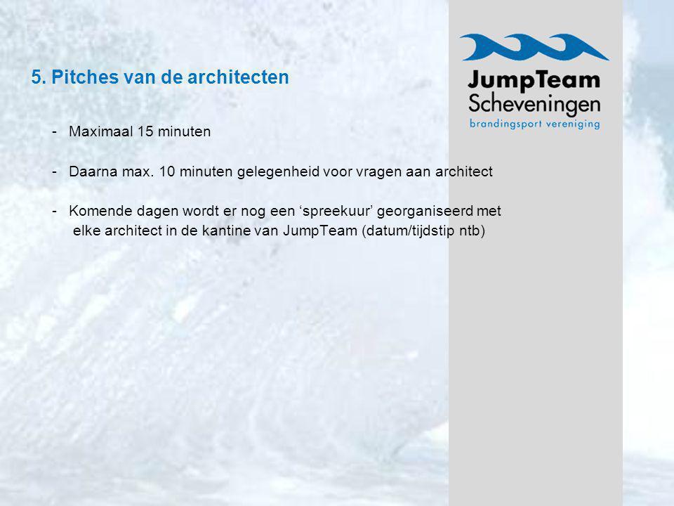 5. Pitches van de architecten -Maximaal 15 minuten -Daarna max. 10 minuten gelegenheid voor vragen aan architect -Komende dagen wordt er nog een 'spre