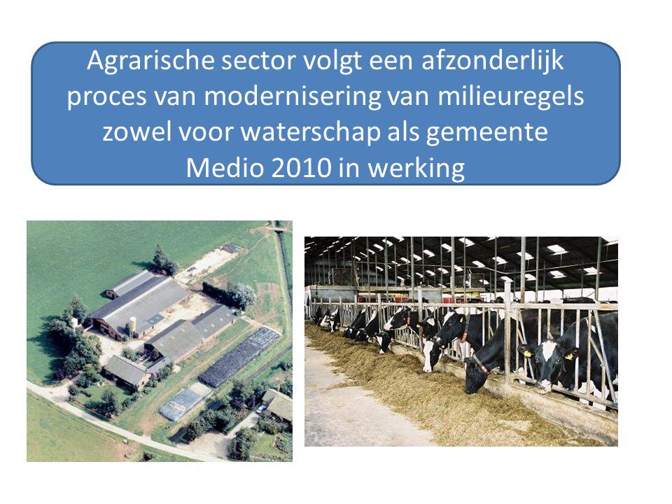 Agrarische sector volgt een afzonderlijk proces van modernisering van milieuregels zowel voor waterschap als gemeente Medio 2010 in werking