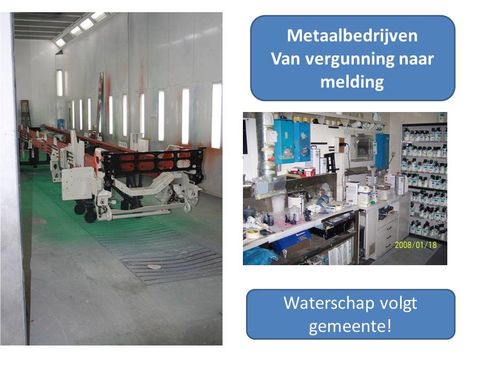Metaalbedrijven Van vergunning naar melding Waterschap volgt gemeente!