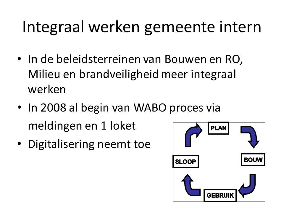 Integraal werken gemeente intern • In de beleidsterreinen van Bouwen en RO, Milieu en brandveiligheid meer integraal werken • In 2008 al begin van WABO proces via meldingen en 1 loket • Digitalisering neemt toe