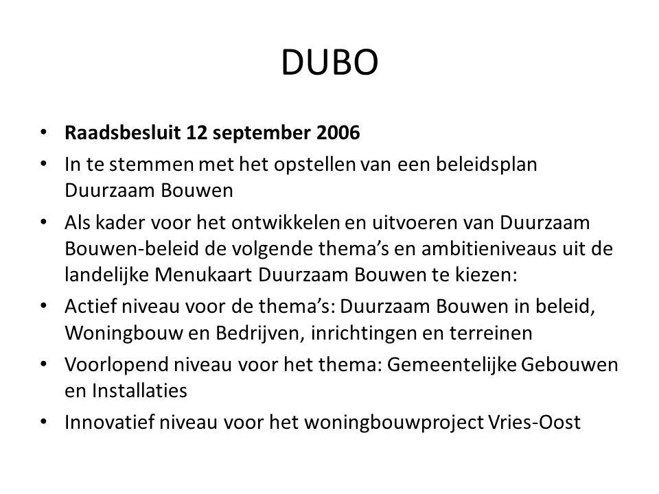 DUBO • Raadsbesluit 12 september 2006 • In te stemmen met het opstellen van een beleidsplan Duurzaam Bouwen • Als kader voor het ontwikkelen en uitvoe