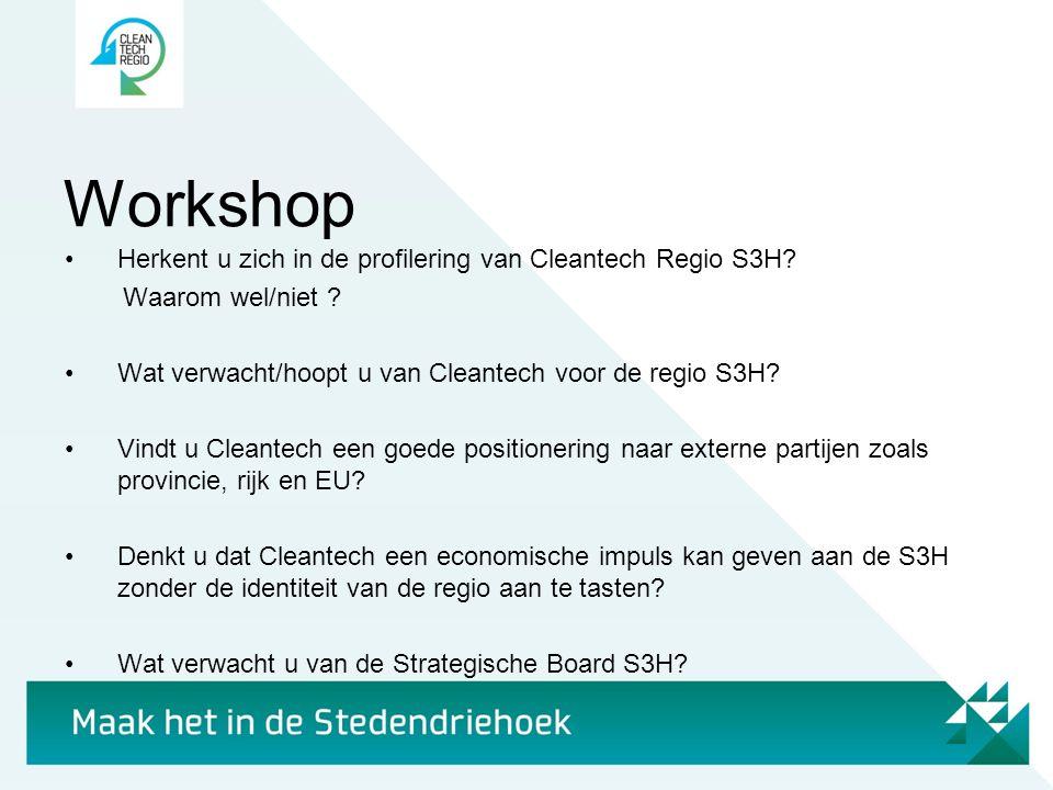 Workshop •Herkent u zich in de profilering van Cleantech Regio S3H? Waarom wel/niet ? •Wat verwacht/hoopt u van Cleantech voor de regio S3H? •Vindt u