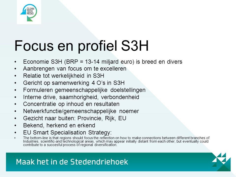 Focus en profiel S3H •Economie S3H (BRP = 13-14 miljard euro) is breed en divers •Aanbrengen van focus om te excelleren •Relatie tot werkelijkheid in