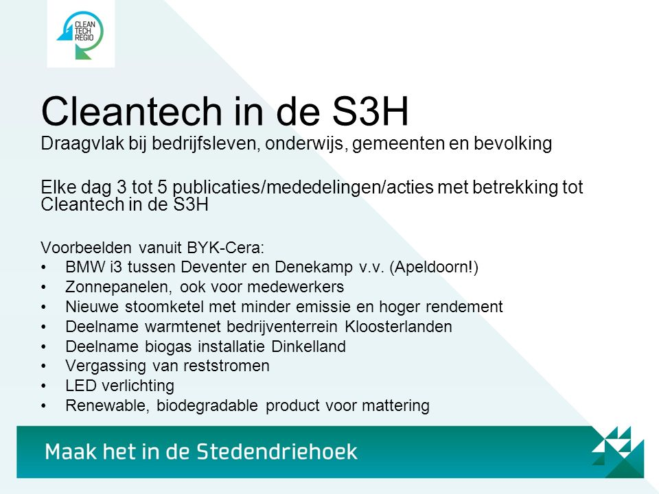 Cleantech in de S3H Draagvlak bij bedrijfsleven, onderwijs, gemeenten en bevolking Elke dag 3 tot 5 publicaties/mededelingen/acties met betrekking tot