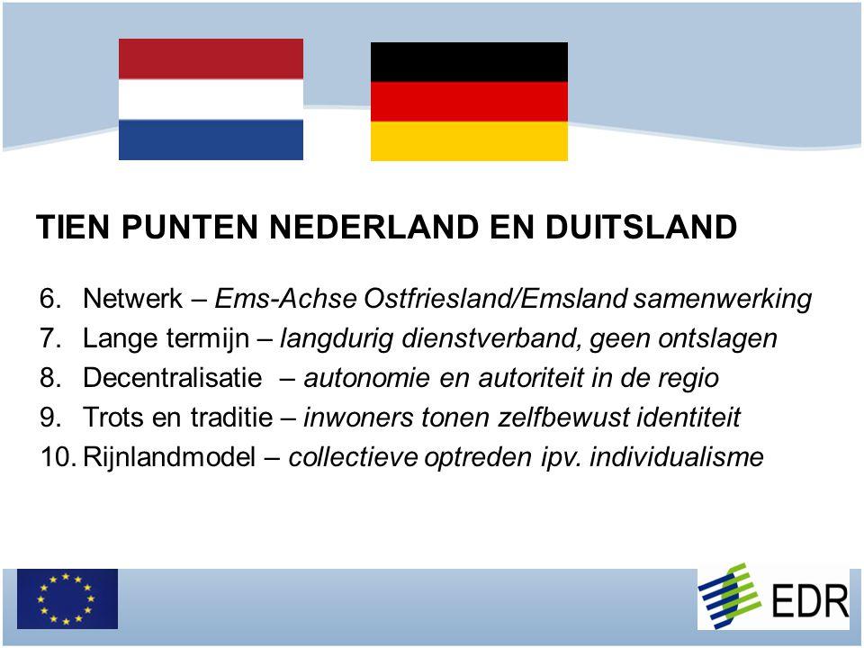 6.Netwerk – Ems-Achse Ostfriesland/Emsland samenwerking 7.Lange termijn – langdurig dienstverband, geen ontslagen 8.Decentralisatie – autonomie en aut