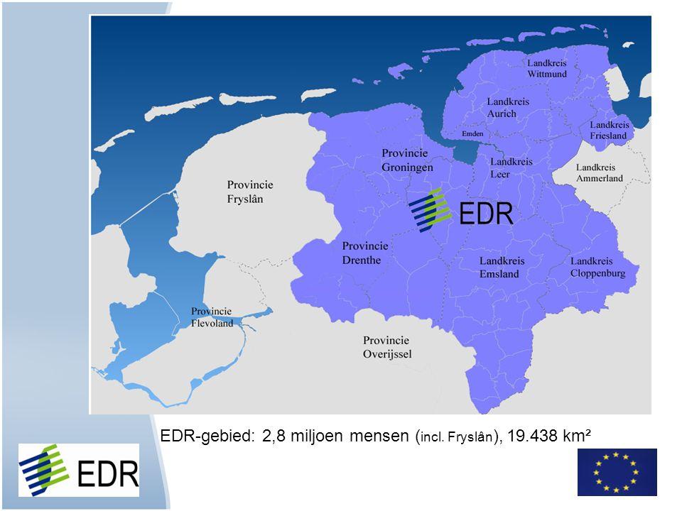 EDR-gebied: 2,8 miljoen mensen ( incl. Fryslân ), 19.438 km²