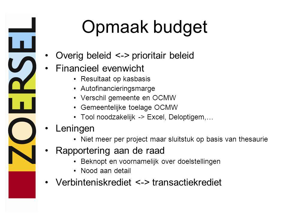 Opmaak budget •Overig beleid prioritair beleid •Financieel evenwicht •Resultaat op kasbasis •Autofinancieringsmarge •Verschil gemeente en OCMW •Gemeen